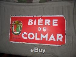 Plaque émaillée publicitaire Bière de COLMAR brasserie d'Alsace décoration bar