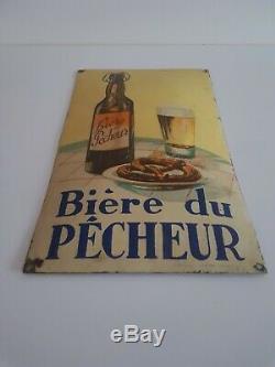 Plaque émaillée publicitaire Pour la bière du pêcheur