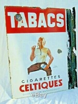 Plaque émaillée publicitaire Tabacs Balto cigarettes celtiques Leon Dupin Sepo