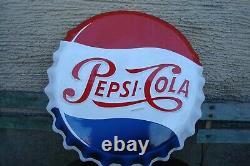 Plaque émaillée publicitaire ancienne capsule PEPSI COLA