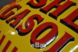 Plaque émaillée shell gasoline bombée pochoir huile 5050 cm