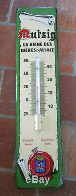 Plaque émaillée thermomètre MUTZIG E. A. S Reine des bière d'alsace