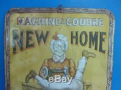 Plaque emaillée, tres rare tole repoussée NEW-HOME, machine a coudre, an 1900
