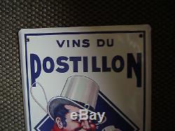Plaque emaillee vins du postillon