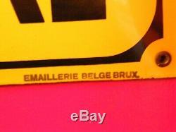 Plaque en Tôle émaillée Bombée Bières Delbruyère 1934 Emaillerie Belge