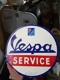 Plaque en tôle Vespa service ACMA PARIS, non émaillée, originale d'époque