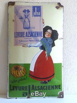 Plaque émaillée ALSA levure Alsacienne très belle sans restauration, pur jus