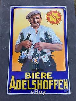 Plaque Émaillée Adelshoffen Rarissime 7 Bouteilles Top Etat