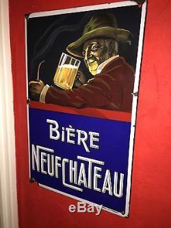 Plaque Émaillée Ancienne Bière Neufchateau Rarissime Bière De Lorraine