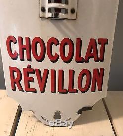 Plaque Émaillée Ancienne Très Rare Dans Cet État EAS Chocolat Revillon