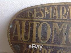 Plaque Émaillée Automobiline Desmarais Huile Deco Bidon Bugatti Laiton Garage