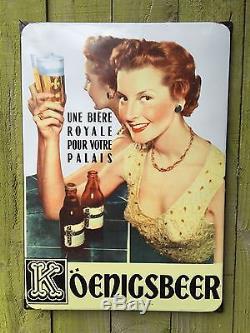 Plaque Émaillée Bière Koenigsbeer Eas 1954 LILLE