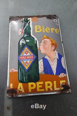 Plaque émaillée Bière LA PERLE 1925 Tintin