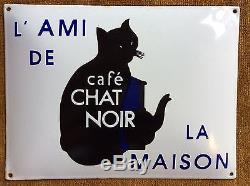 Plaque Émaillée Café Chat Noir Alimentation Pub