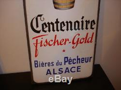 Plaque émaillée Centenaire fischer gold bières du Pécheurs Alsace EAS