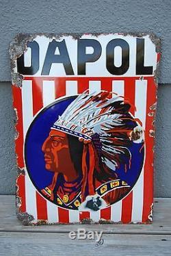 Plaque émaillée DAPOL 1910-20 Emailschild déco garage Oil Cans Huile Benzine