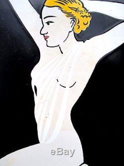 Plaque émaillée Design Art Déco DEPIL Pearline PARIS 1930 Pièce rare en bel état