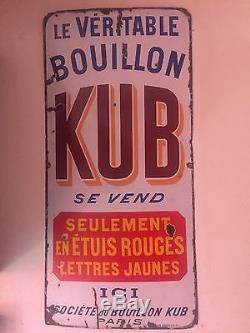 Plaque Émaillée Kub Bouillon Étuis Rouges
