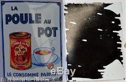 Plaque émaillée LA POULE AU POT LE CONSOMME PARFAIT fond blanc liseré bleu 2/36