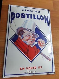 Plaque émaillée Les VINS DU POSTILLON