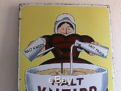 Plaque émaillée MALT KNEIPP 1910 BEUVILLE grand modèle plat RARE émail Ed. JEAN