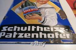 Plaque émaillée MALZ BIER SCHULTHEISS PATZENHOFER