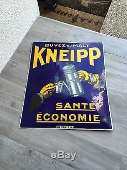 Plaque Émaillée Malt Kneipp Rarissime Grande Taille Bleue