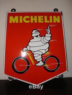Plaque émaillée Michelin Bibendum Vélo Année 1967