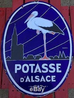 Plaque Émaillée Potasse D'alsace Email Ed. Jean 70 X 50 Cm