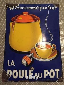 Plaque émaillée Poule au Pot ancienne