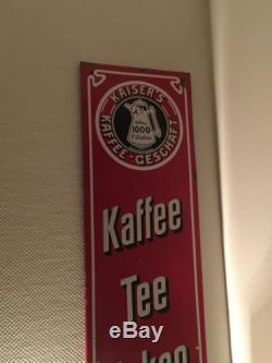 Plaque Émaillée Rare Kaiser S Kaffee Tee Pralinen Zucker Chocolat Chocolate