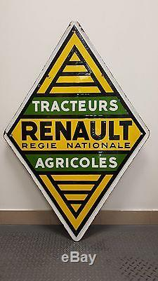 Plaque émaillée Renault Tracteur Agricole Régie ancienne