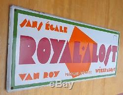 Plaque émaillée Royal Alost Van Roy Wieze Alost de 1931 en bel état d'époque