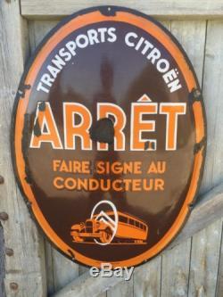Plaque émaillée Transports Citroën Arrêt Faire signe au conducteur