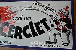 Plaque émaillée ancienne BOULET CERCLET pompier