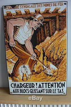 Plaque émaillée ancienne Chambre Syndicale des Mines de Fer