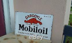Plaque émaillée ancienne GARGOYLE MOBILOIL Double face