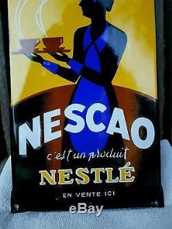 Plaque émaillée ancienne Nescao Nestlé authentique état neuf! Rétro vintage pub