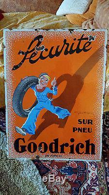 Plaque émaillée ancienne Pneus Goodrich de Geo Ham
