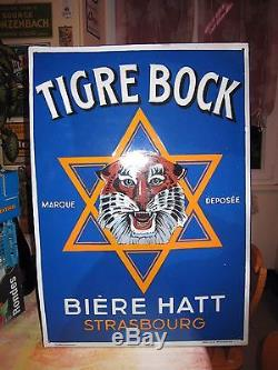 Plaque émaillée ancienne Tigre Bock émaillerie alsacienne