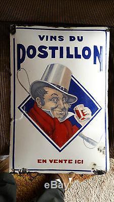 Plaque émaillée ancienne VINS DU POSTILLON