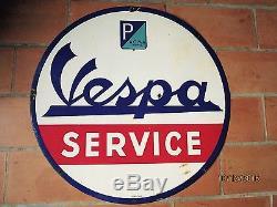 Plaque émaillée ancienne (années 50) VESPA SERVICE diam 80 cm