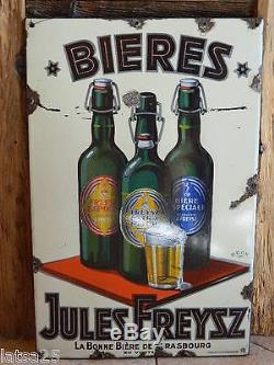 Plaque émaillée ancienne bière Jules Freysz Strasbourg vers 1930