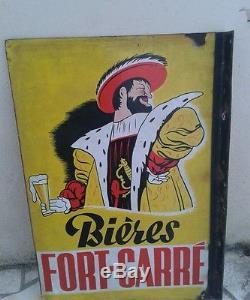 Plaque émaillée bière brasserie fort carré