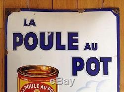 Plaque émaillée bombée LA POULE AU POT version blanche 1935