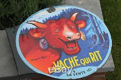 Plaque émaillée double face La Vache qui Rit signée Benjamin Rabier