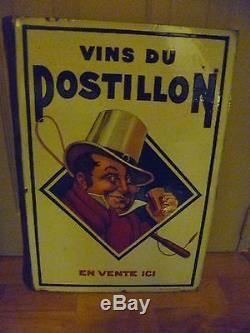Plaque émaillée double face Vins du Postillon
