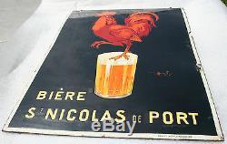 Plaque émaillée double face bière saint Nicolas de port signée Auzolle