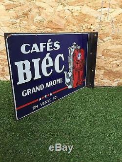 Plaque émaillée double face (drapeau) cafés BIEC