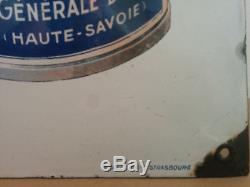 Plaque émaillée lait Mont Blanc émaillerie Alsacienne signée Jules Courvoisier